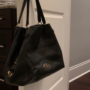 Black Leather Coach Bag.  Never used